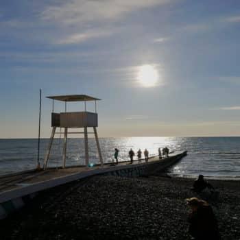 Фото пляжа Сочи зимой